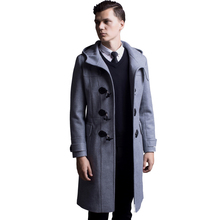 Horns Buckle woolen Coat Men 2017 Spring And Autumn New England Hooded Long Section Of Wool Jacket Male Plus Size Trench Coat