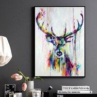 Özel Özet Deer Duvar Sanat Baskı Boyama Dekoratif Resimler Ev Oturma Odası Renkli Stag Hayvan Poster Tuval Bırak gemi