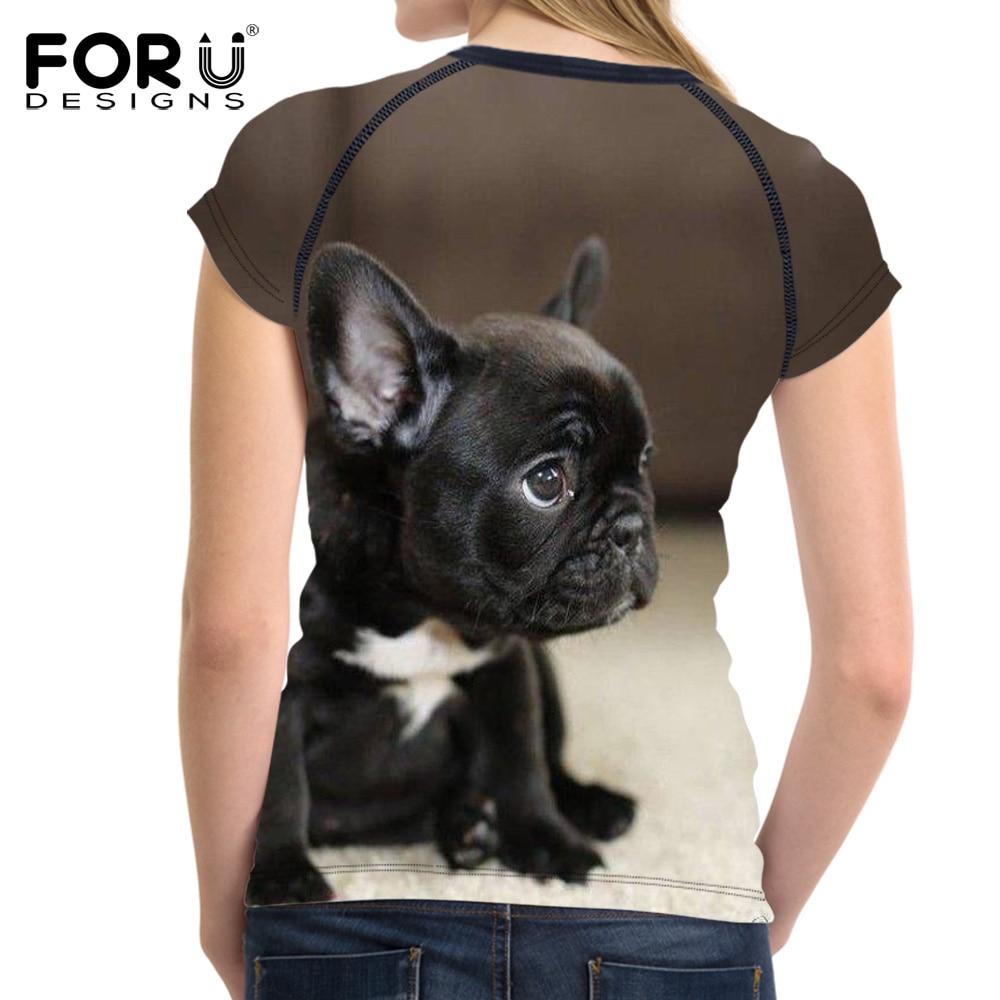 FORUDESIGNS Kawaii BullDog Cetak T Shirt Untuk Wanita Lengan Pendek - Pakaian Wanita - Foto 2