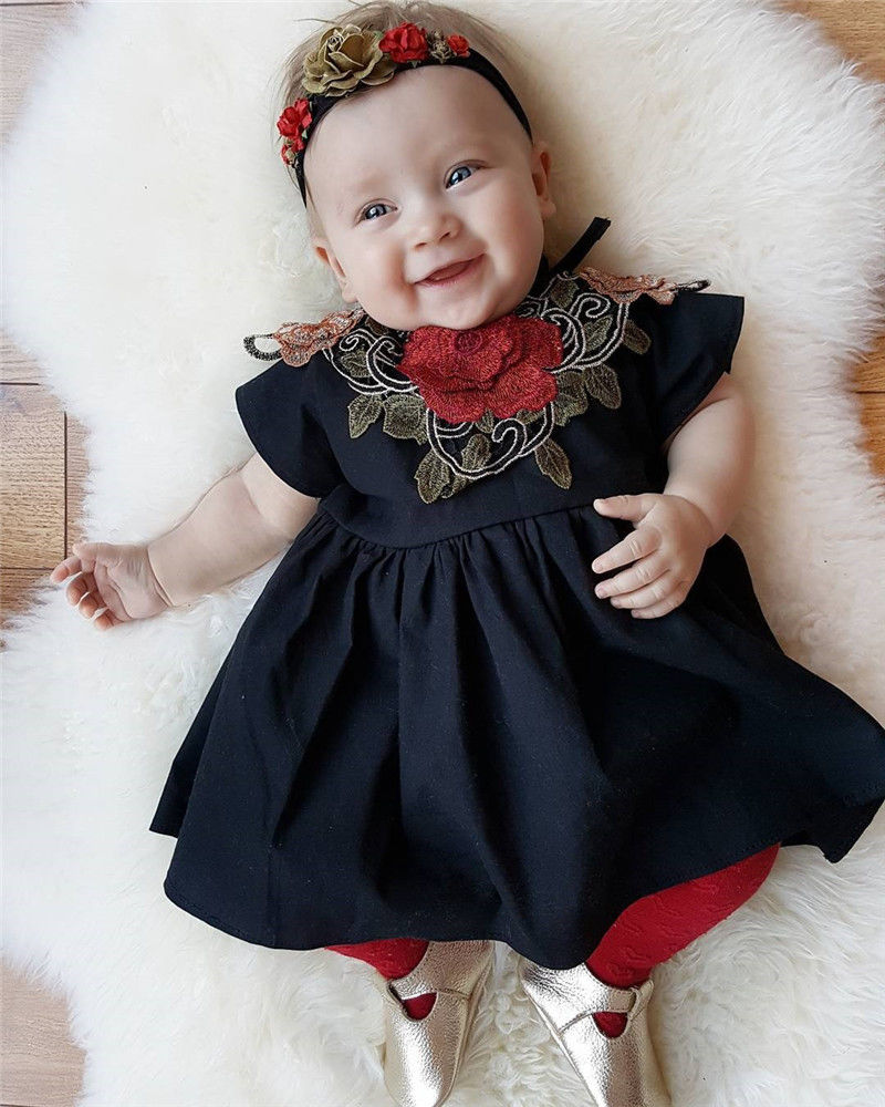5e364e5b2818 2017 New Baby Girl Dress 1 4Y Toddle Kids Clothes Cute Little Girls ...
