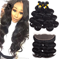 Peruvian Body Wave With Frontal Closure 4 Bundles With Lace Frontal Closure Body Wave Peruvian Hair Weave Bundles With Frontal