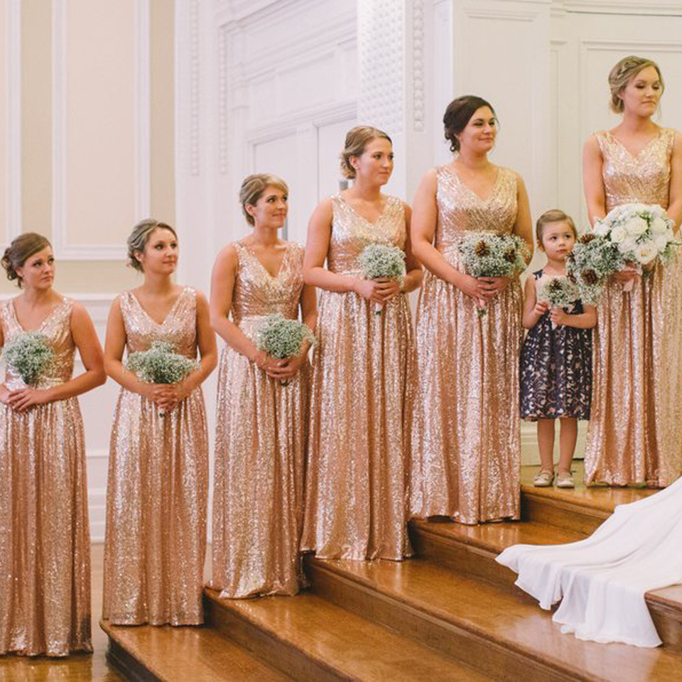 Rose gold bridesmaid dress Sequin