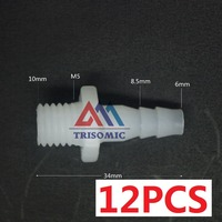 12 Pieces 6mm M10 Straight Connector Plastic Pipe Fitting Barbed With Thread Material PE Joiner Fitting