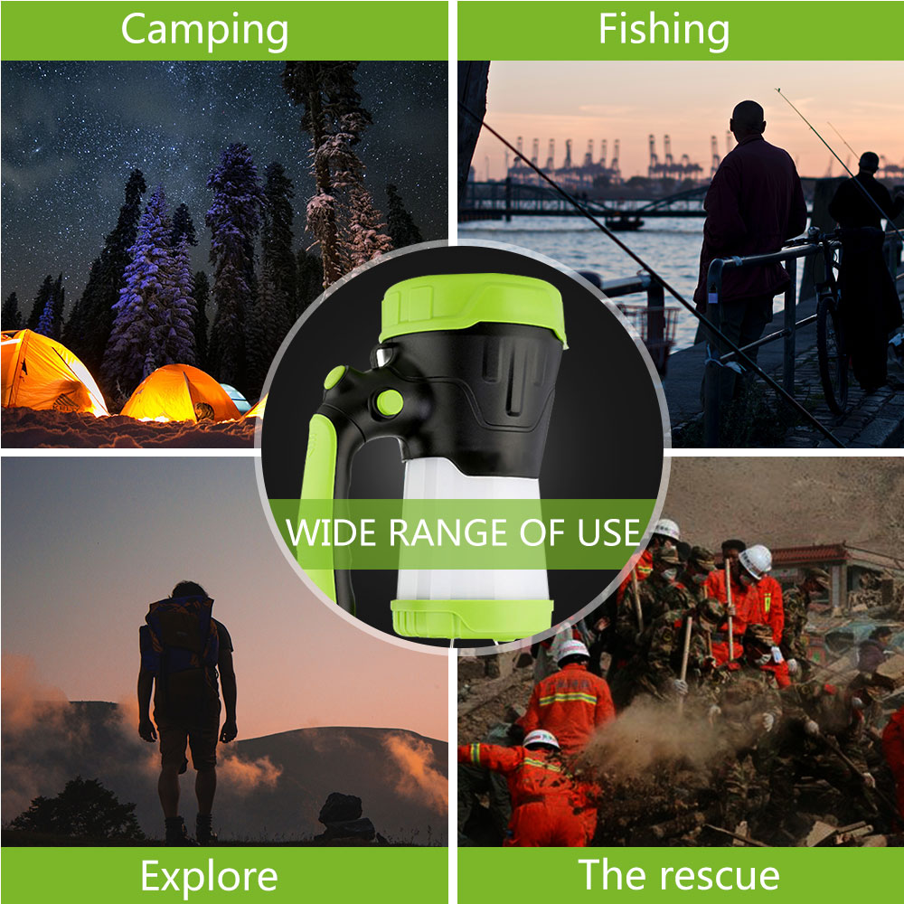 Купить с кэшбэком 6000mAh USB Rechargeable LED Camping Portable Spotlight Lantern Flashlight Power Bank Searchlight Outdoor Light Torch Fishing