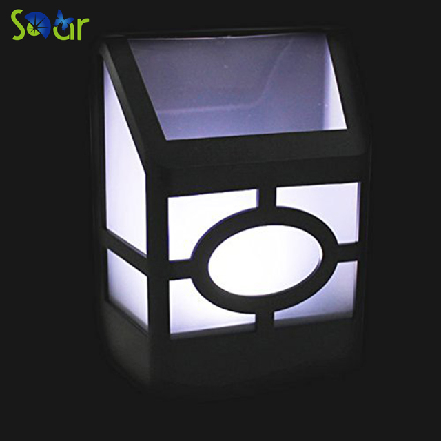 4pcs outdoor solar powered wall mount 2led mission style solar deck accent lights nature white