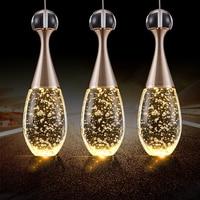 Modern fashion golden champagne bubble crystal pendant light for dining living room restaurant hanging lamp