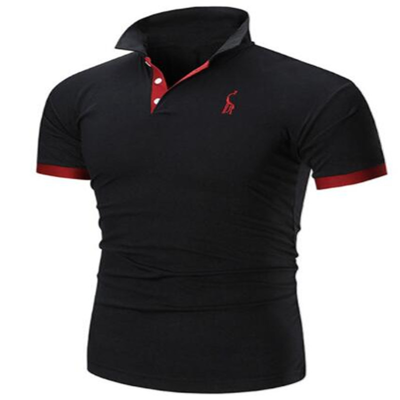 2019 FSTMETORS Mens Brands Casual Short Sleeve Men's   Polo   Shirt Slim Solid Color Deer Embroidered   Polo   Shirt