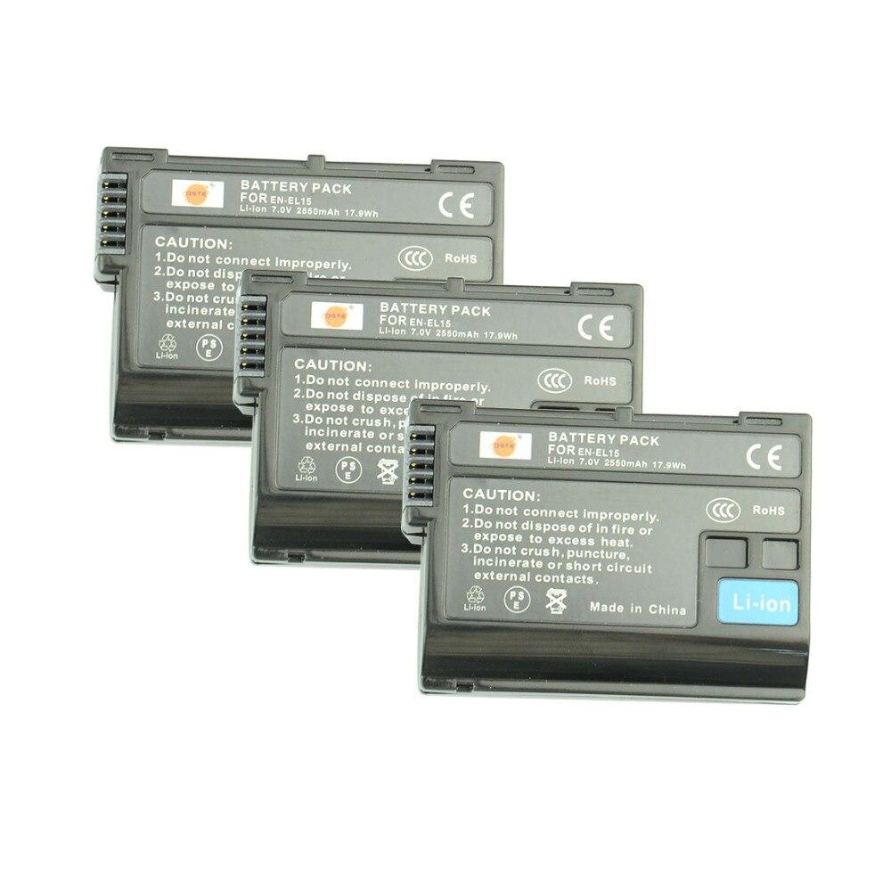 DSTE 3 STÜCKE 2550 mAh EN-EL15 en-el15 Kamera Akku für NIKON D7000 D7100 D800 D800E D600 D610 D810 D500 D7200 V1 D7500 D850