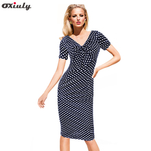 Womens Casual Vintage Summer Polka Dot Bow V-Neck Tunic Pinup Wear To Work Office Party Sheath Pencil Dress