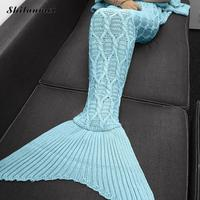 Mermaid Tail Blankets Knitted Patchwork Winter Warm Thick Body Blanketecharpe Poncho Scarves Hijab Crochet Acne Studios
