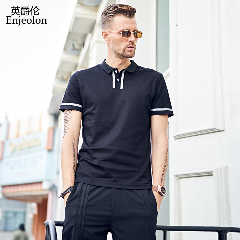 Enjeolon Polo Shirt Mens Short Sleeve Summer Cotton Black Casual Solid Male Polo Shirts Dry Slim Fit Polos For Men T3707