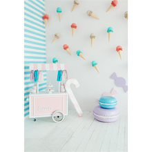 Indoor Photo Backdrop Baby Shower Printed Sweet Table Ice Cream Candy White Wall Kids Girls Birthday Party Background Wood Floor(China)
