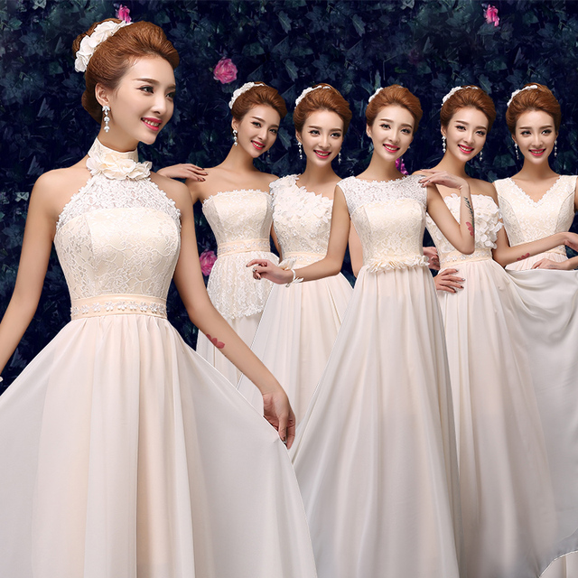 Bridesmaid dress 2017 Drnfow New Formal Long Lace A-Line Sleeveless Empire  Party Prom Dresses Six style to choose S M L XL XXL ce8892b213ae