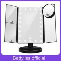 22 светодиодный свет макияж зеркала сенсорный экран 1X 10X Настольный столешница яркий регулируемый USB кабель или батареи использовать 16 огней