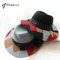 Fibonacci جودة عالية خليط متعدد الألوان السيدات الرامي قبعة فيدورا قبعة للنساء تريلبي الصوف ورأى القبعات
