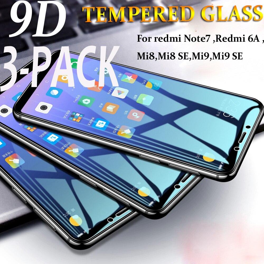 3-PACK For Xiaomi Redmi Mi8 Tempered Glass for xiaomi redmi 6a Screen Mi9 Film Note 7 Full cover