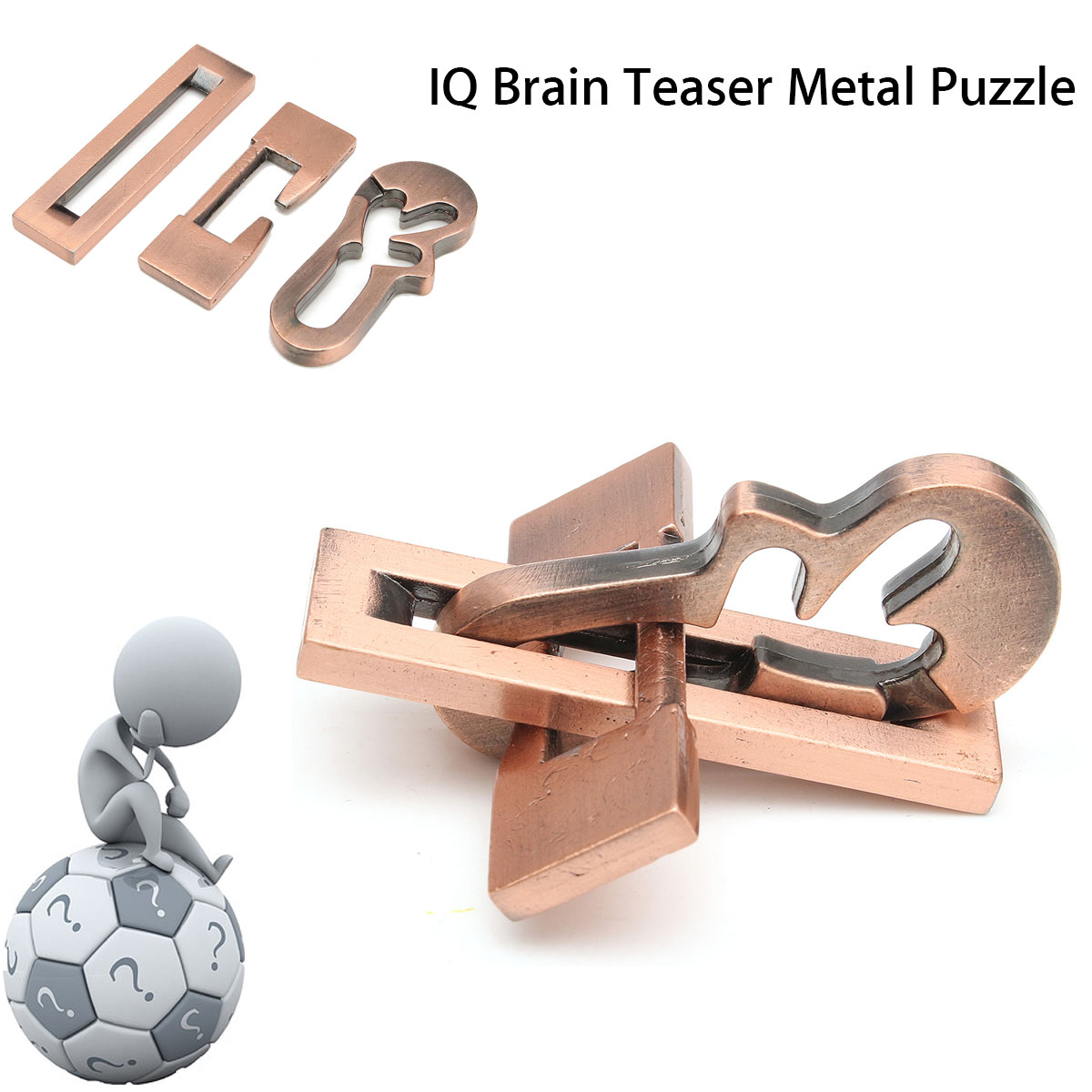 Vintage Metal Puzzle IQ Mind Brain Teaser Educational Toy Gift For Adults Children Kids Game Toys ...