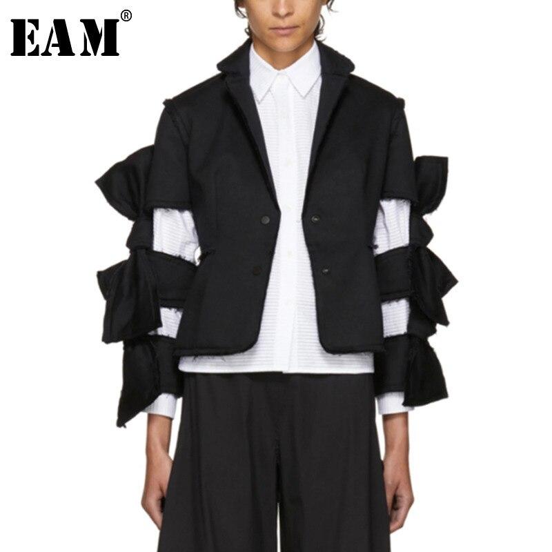 [EAM] Высокое качество 2018 осень черные однотонные свободные пальто с длинными рукавами с бантом выдалбливают Дикий Короткие Топы новые модны...