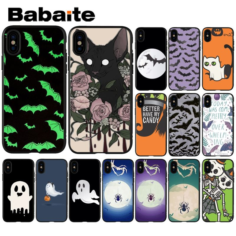 Babaite Bat <font><b>ghost</b></font> spider halloween Smart Cover Black Soft <font><b>Shell</b></font> Phone <font><b>Case</b></font> for iPhone X XS MAX 6 6S 7 7plus 8 8Plus 5 5S XR image