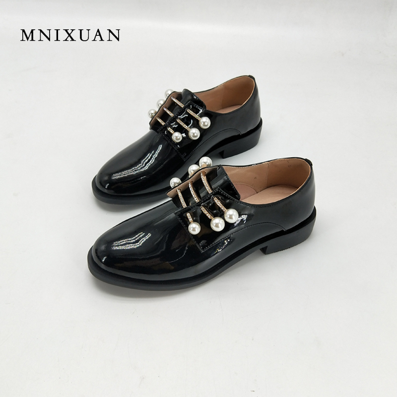 MNIXUAN Women shoes pumps 2018 spring new fashion patent leather round toe medium heels 3cm pearls rhinestone blcok casual black mnixuan women shoes slippers 2018 spring