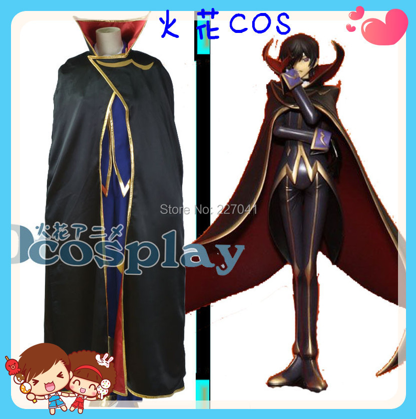 Anime Code Geass ZERO Lelouch Lamperouge Cosplay Halloween Costumes Custom Made Free Shipping