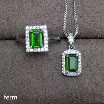KJJEAXCMY exquisite jewelry 925 pure silver inlaid natural diopside square female jewelry set ring pendant 2 pieces.