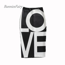 BunniesFairy 2016 Autumn Female Vintage LOVE Alphabet Letter Print Black Pencil Skirt with a High Waist Casual Wear Falda Largas