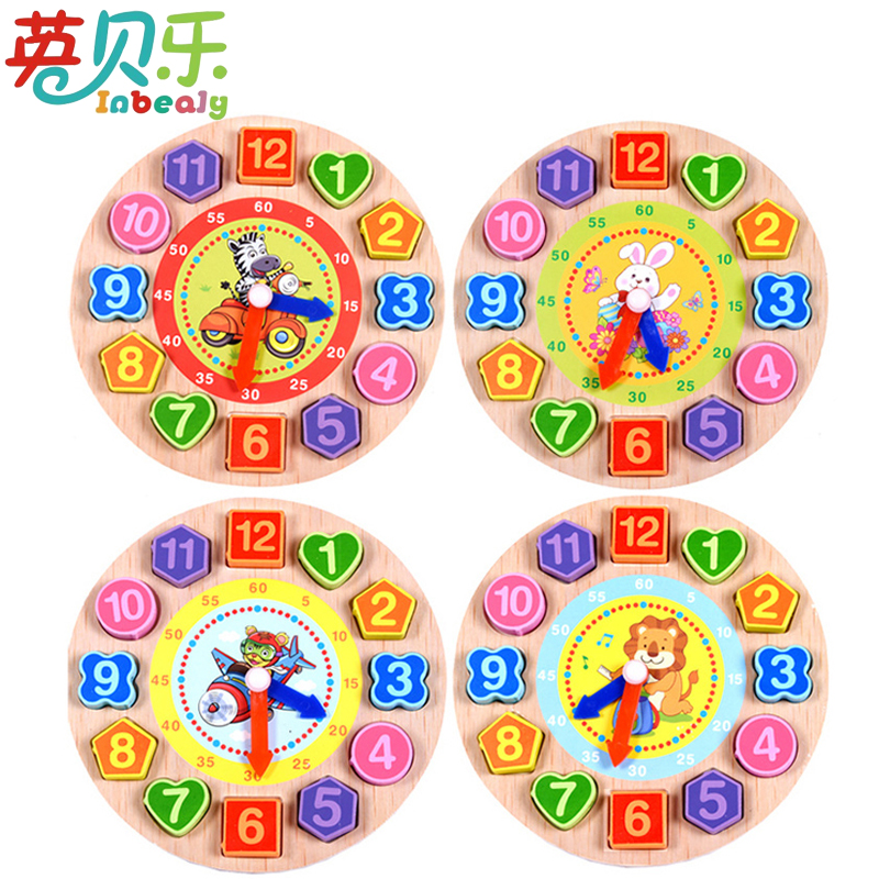 1PC Wooden Puzzle 3D Cartoon Rabbit Tiger Lion Lovely Animal Digital Clock Geometric Shape Puzzle Match Game Kids Education Toy