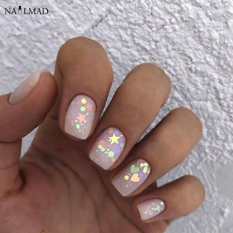 3ml/box Nail Art Glitter Mix Star Heart Hexagon Acrylic Glitter Mixes Nail Sequins Colorful Glitter Nail Art Decorations