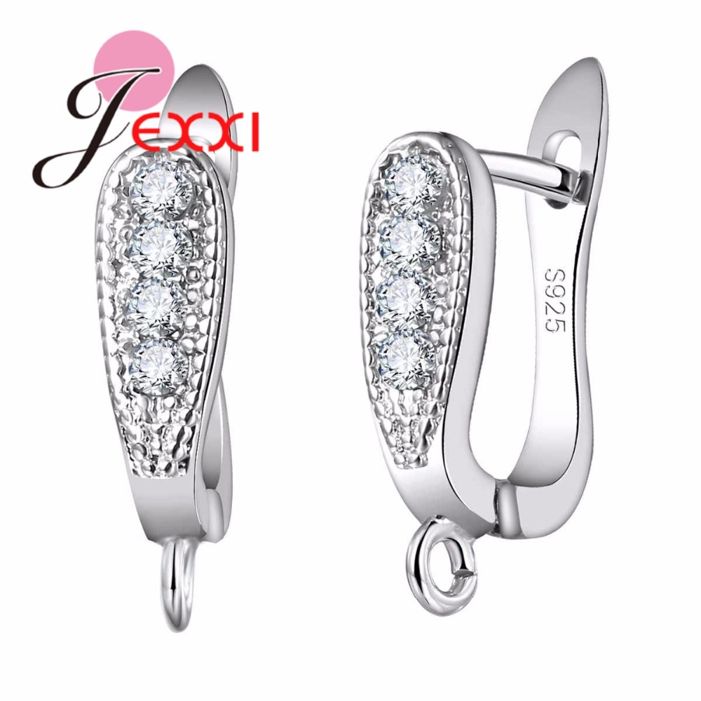 JEXXI Promotion Factory Price 925 Sterling Silvre Jewelry Accessories for Women Clear Rhinestone Hoop Earrings Fashion Bijoux pair of charming rhinestone heart hoop earrings for women
