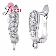 JEXXI promocja fabryka cena 925 Sterling Silvre Biżuteria akcesoria dla kobiet jasne Rhinestone Hoop kolczyki Fashion Bijoux tanie tanio Clasps Hooks Metal Srebrny P22201 Jewelry Findings