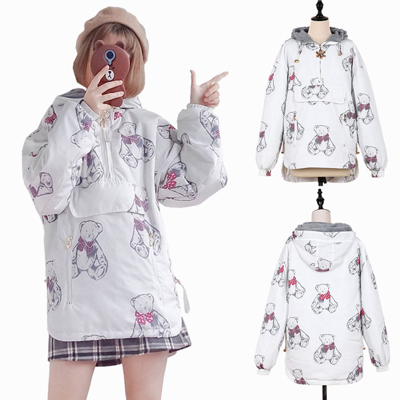 Vintage Women's Coat Cute Bear Pattern Long Sleeve Winter Warm Lolita Outwear Jacket Hoodies