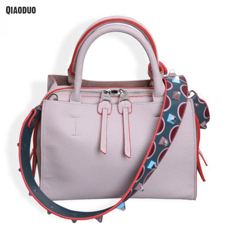 Fashion Handbags Ladies Luxury Bags 2 shoulder straps tote Leather Rivet Small Female Shoulder Bag New Messenger Bag For Girls 2018 new female bag korean version of the striped shoulder messenger bag small fashion handbags ladies wrist bag
