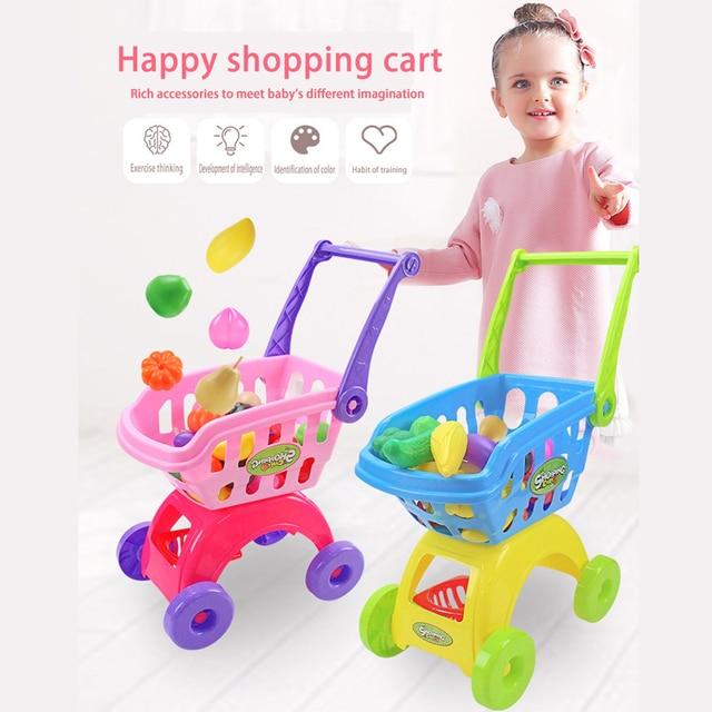 Simulation Mini Shopping Cart Toys Baby Kids Supermarket Pretend Play Toy Plastic Assemble/Disassemble Shopping Storage Basket