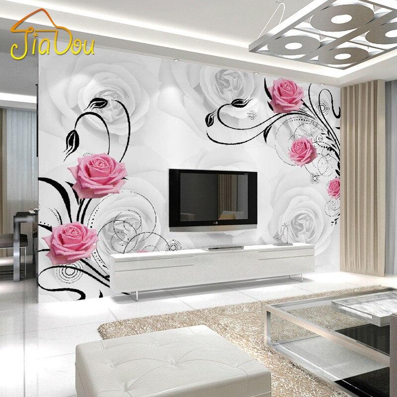Custom Photo Wallpaper Large 3D Living Room Bedroom Sofa TV Background  Wallpaper Mural Rose Flowers 3D Wall Mural Wallpaper Design