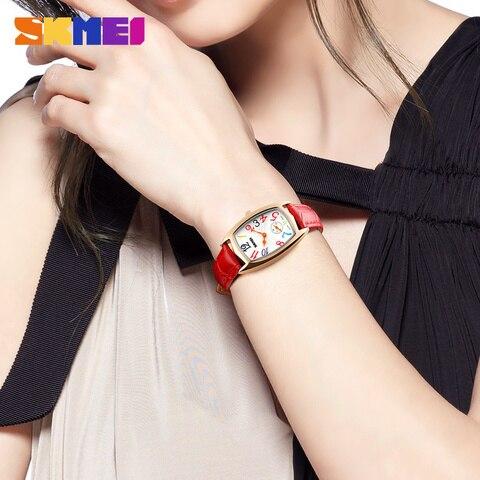 SKMEI Women Watches Top Brand Luxury Famous Quartz Watch Waterproof Leather Ladies Wrist Watches Clock Women Relogio Feminino Islamabad