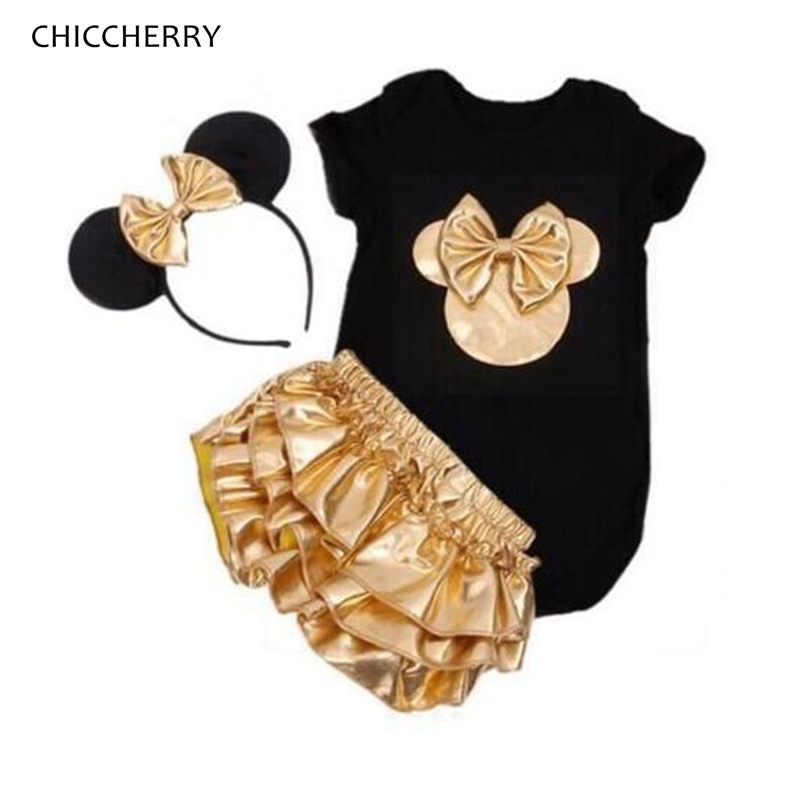 Fashion 2018 Minnie Short Sleeve Baby Girl Summer Clothes Bodysuits Bloomers Headband Infant Clothing Newborn Baby Gift Set 2018 fashion baby bodysuits infant jumpsuit long sleeve baby clothing set summer christmas baby girl clothes baby girl bodysuit