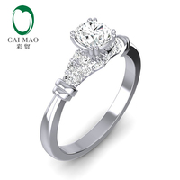 Caimao 14k White Gold Moissanite Wedding Band Ring Jewelry