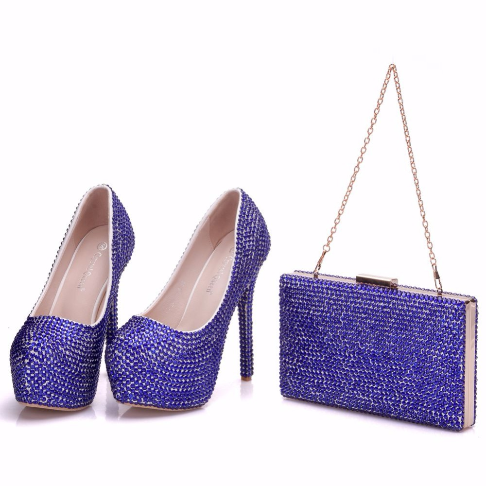 Crystal Queen Blue Wedding Shoes Woman Pumps Rhinestone Dress Shoes Lady High Heel Party Platform With Matching Bags Bride Purs crystal queen multicolor flower shining crystal womens flat wedding shoes matching bags clutches flats female lady party shoes