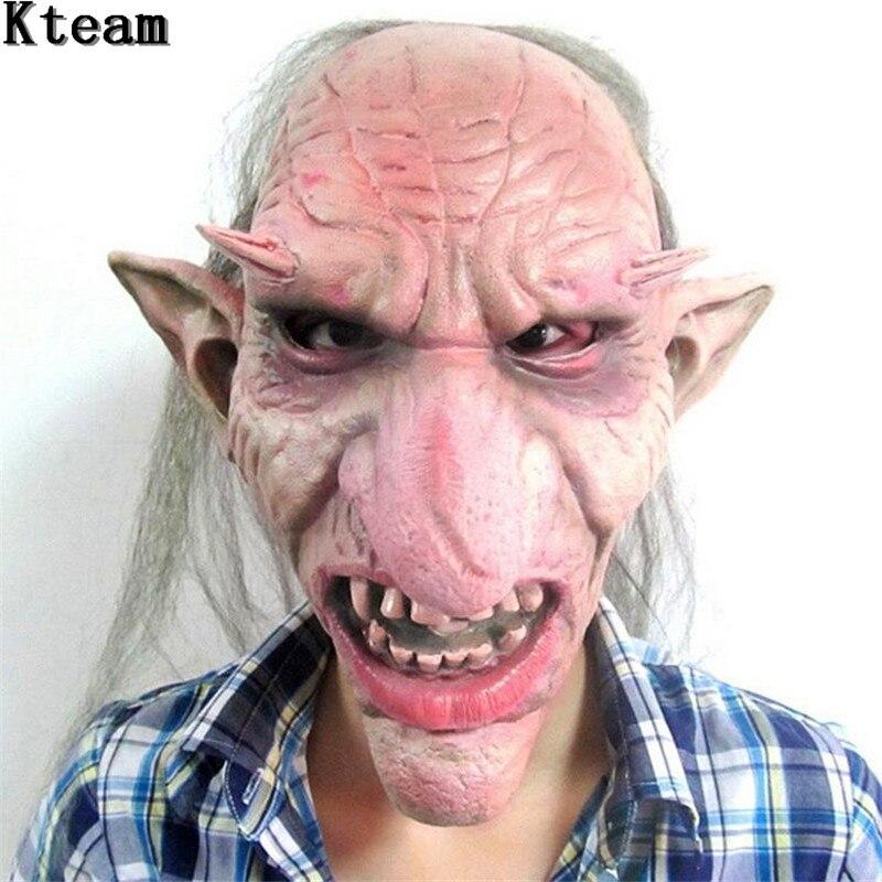 ¡Oferta! máscara de látex para hombre Goblins máscara de Horror de la nariz grande disfraz de disfraz