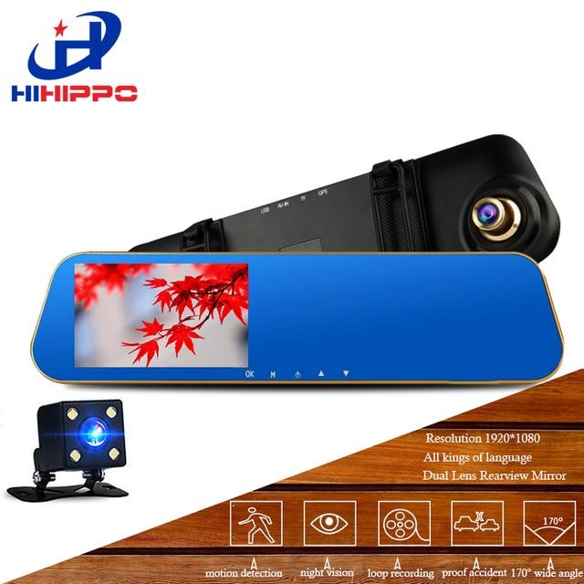 Hihippo Автомобильные видеорегистраторы тире видеокамера Автомобильный видеорегистратор автомобиля камера HD 1080 P двойной видеокамера с 4.3 дюйм(ов) tftd