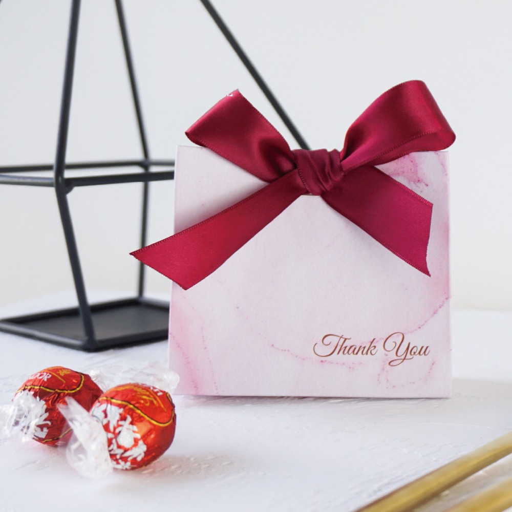 Diamond shape Pink / Golden Bows Lovely Hearts Candy Boxes Wedding ...