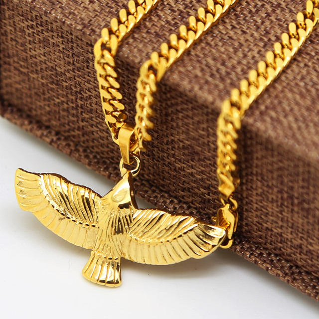 High End gold color Flying Eagle Bird Charm Pendant Necklace men