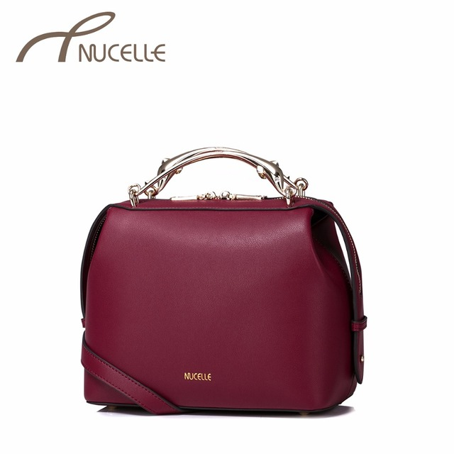 NUCELLE Women PU Leather Handbag Ladies Fashion Doctor Messenger Tote Purse Female Leisure Metal Handle Crossbody Bags NZ41010