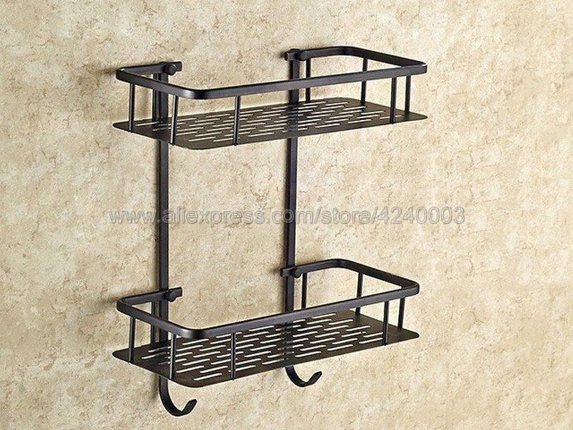 Bathroom Shelves Black Brass Two Layer Wall Rack Towel Hooks Washing Shower Cosmetic Basket Home Accessories Bath Shelf Kba530 цена