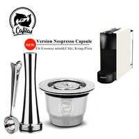 ICafilas Espress Capsulas filtro Recargables de acero inoxidable de Metal para cápsulas reutilizables de café Recargables Nespresso