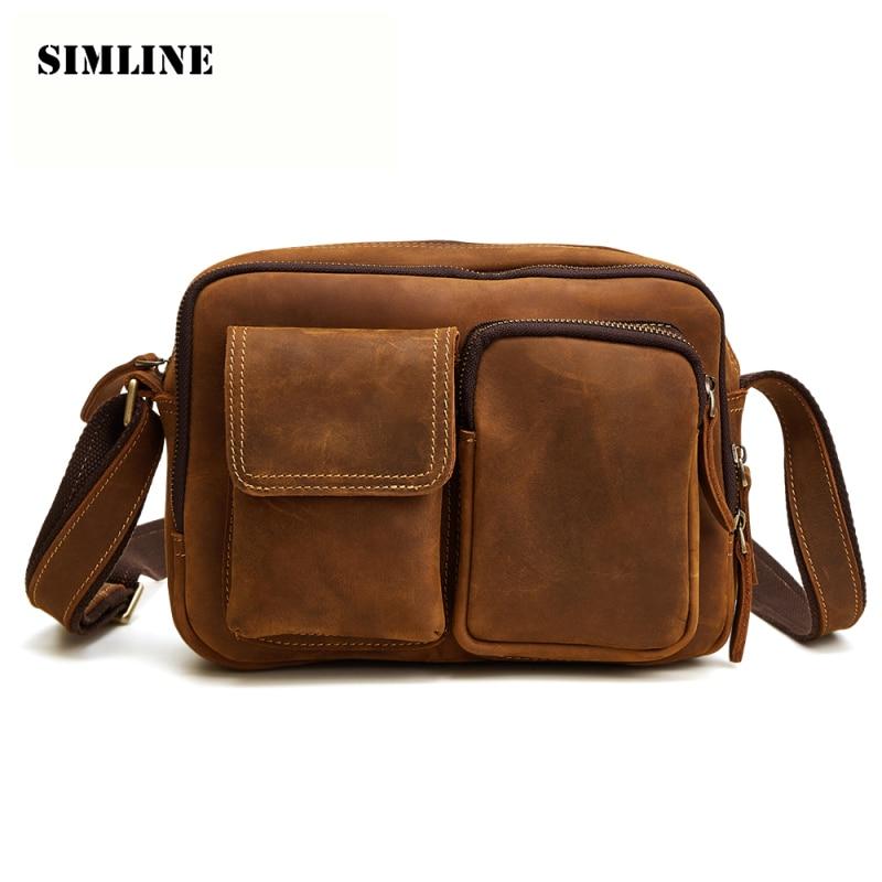 купить SIMLINE Brand Genuine Leather Men Messenger Bag Vintage Crazy Horse Cowhide Men's Shoulder Crossbody Bags Handbags For Man Male по цене 5433 рублей