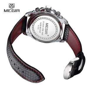 Image 5 - Megir moda aydınlık quartz saat adam rahat deri marka saatler erkekler analog su geçirmez kol saati erkek sıcak saat 1010