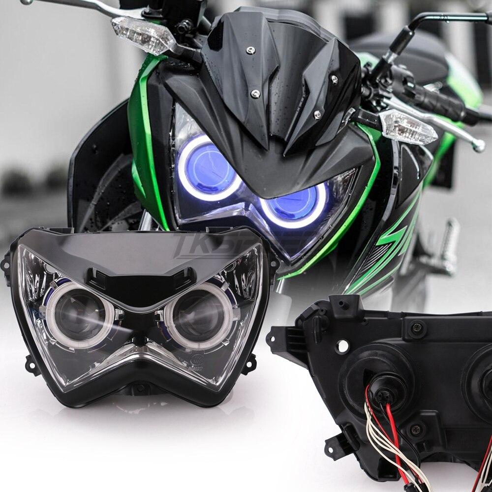 Halo Ojo Azul color de luz proyector HID de montaje de la linterna para Kawasaki Z800 z250 2013, 2014, 2015, 2016 - 6