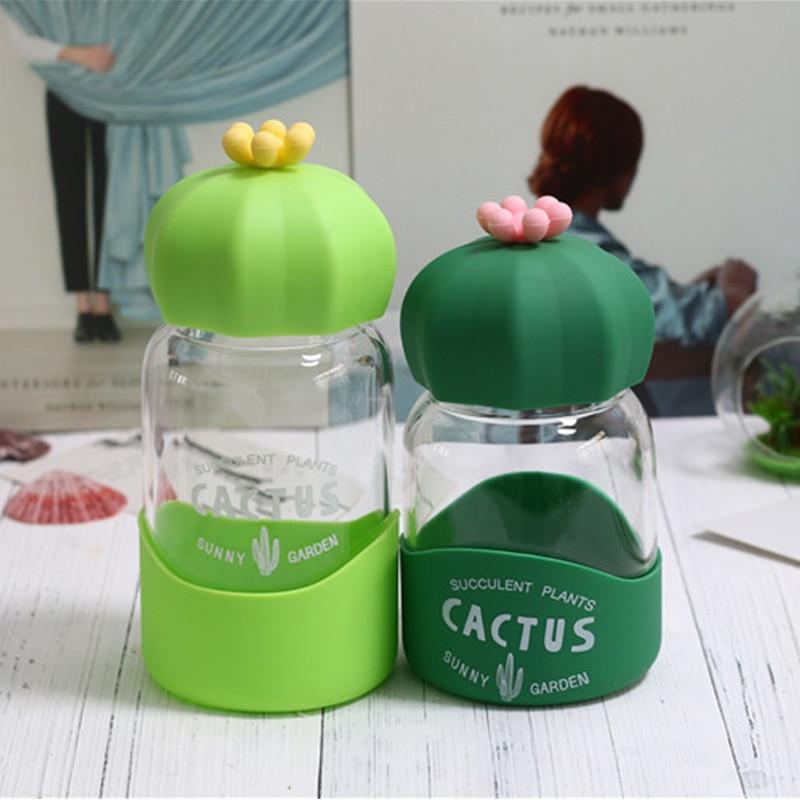 Cute Glass Water Bottle Silicone Cover Drinking Bottle for Water Creative Drinkware Kids Juice Milk Bottles Coffee Tea Tumbler